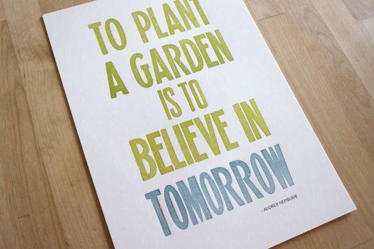 letterpress poster gardening print moontree