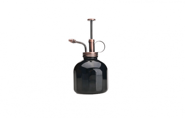 A blackPlant Mister has a faceted glass bottle and a brass sprayer; \$\1\2.40 at Amazon.