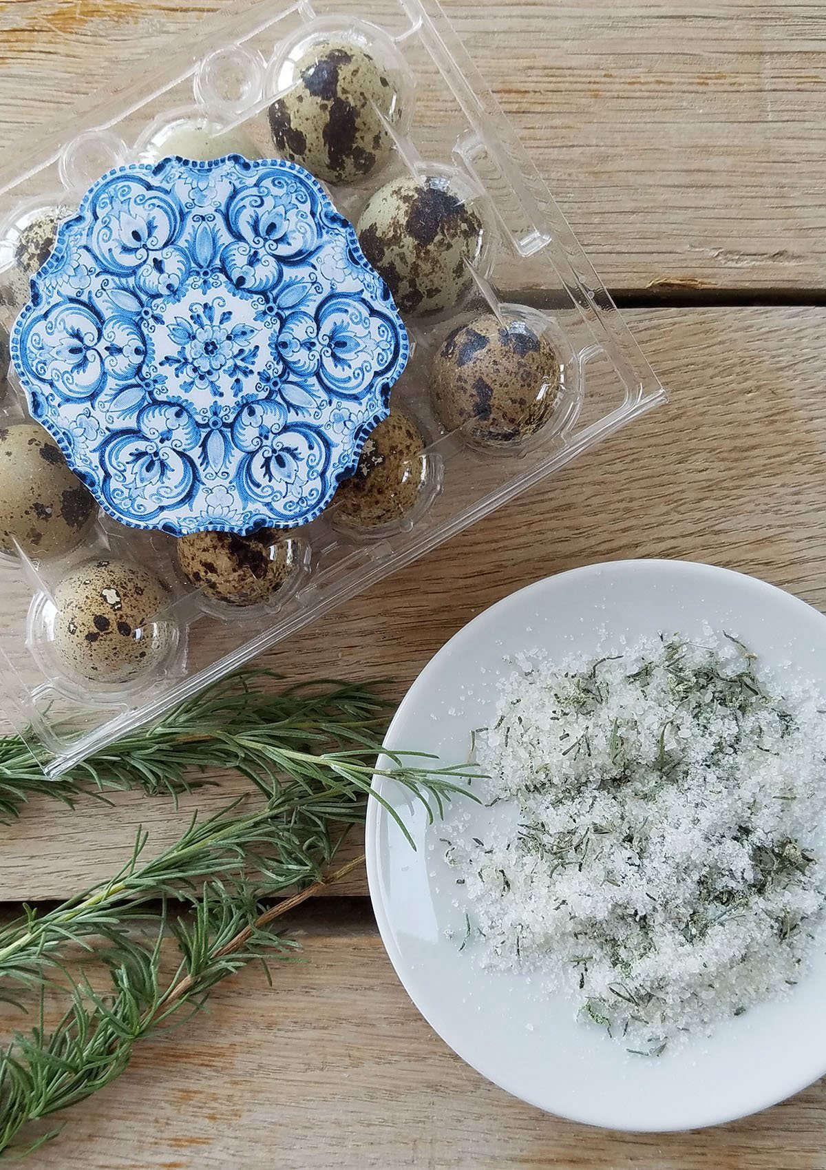 Quails eggs and dipping salt by Marie Viljoen