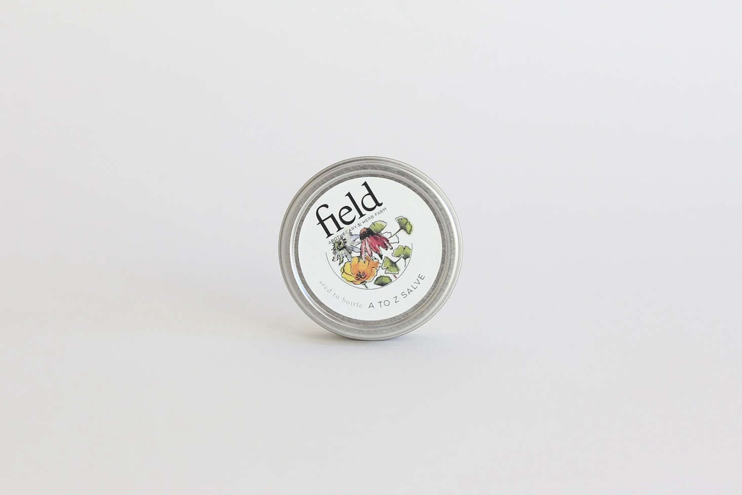 A tin of A to Z All-Purpose Healing Balm with comfrey, calendula, and peppermint from Field Apothecary in New York&#8