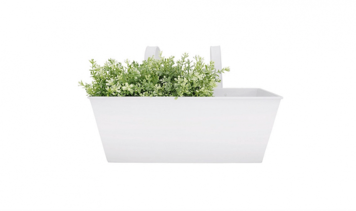 From Esschert Design, a \15.7-inch-long White Metal Rectangular Balcony Planter is \$\19.86 from Amazon.