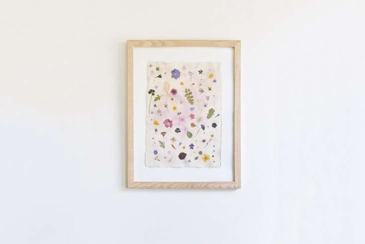 Artist Christine Lewis&#8\2\17;sRaindrops on Roses work is made of cotton rag paper sprinkled with flower petals from her cutting garden; £50 (\$67 USD) for the work (frame not included).