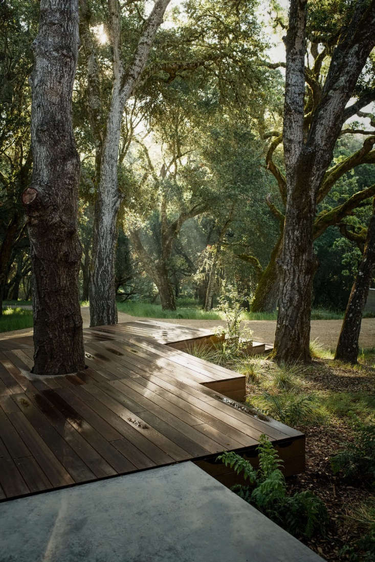 No oak trees were harmed in the building of this tiered deck. See Landscape Architect Visit: The California Life, Outdoor Living Room Included. Photograph by Joe Fletcher courtesy of Sagan Piechota Architecture.