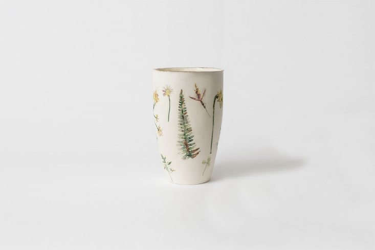 TheFelicity Jones Wild Garden Unglazed Round Vase is made from pressed flowers collected from Petersham Nurseries&#8\2\17; flower garden and placed into clay; £\180 (\$\24\1 USD).