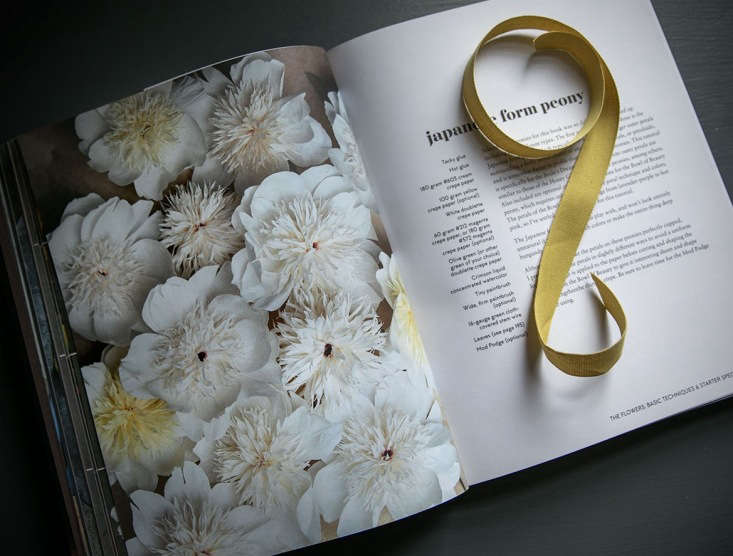 The book includes several projects for giant blooms, including these Japanese form peonies.