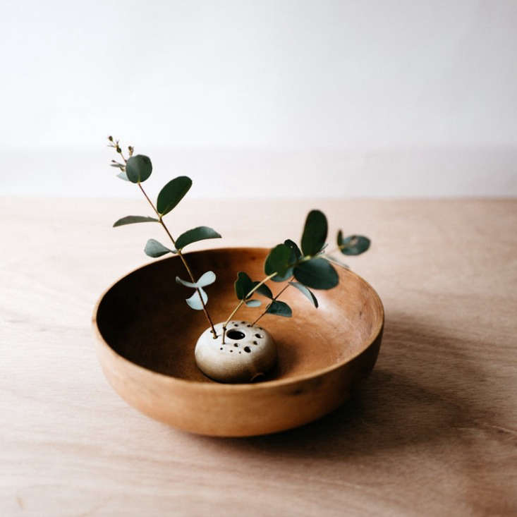 A miniature stoneware Flower Frog available in two colors (white or matte gray as shown) is 3.5 inches in diameter and is $39 from Notary Ceramics.