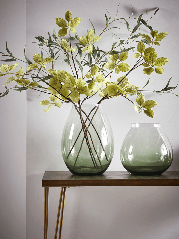 A Green Glass Vase is available in two sizes, for£45 or£55, depending on size, from Cox & Cox.
