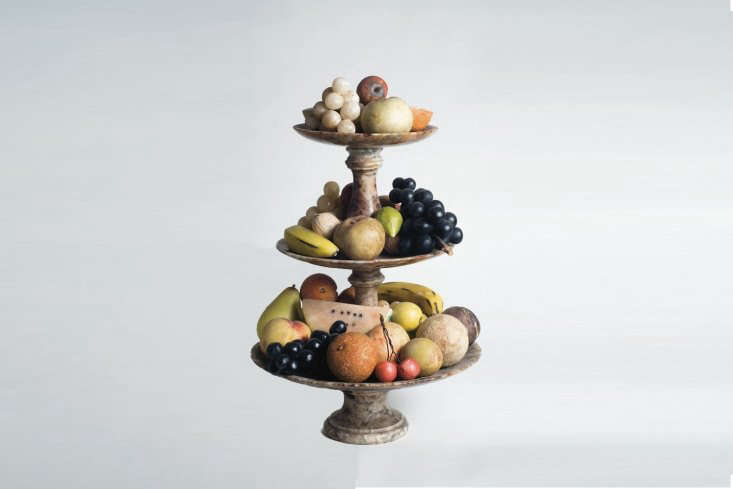 Italian Carrera Marble Fruit is sculpted in Tuscany with marble from the same quarry Michelangelo used. The range of fruit is available at John Derian in New York City. You can also source vintage marble fruit on Etsy and cobble together your own set.