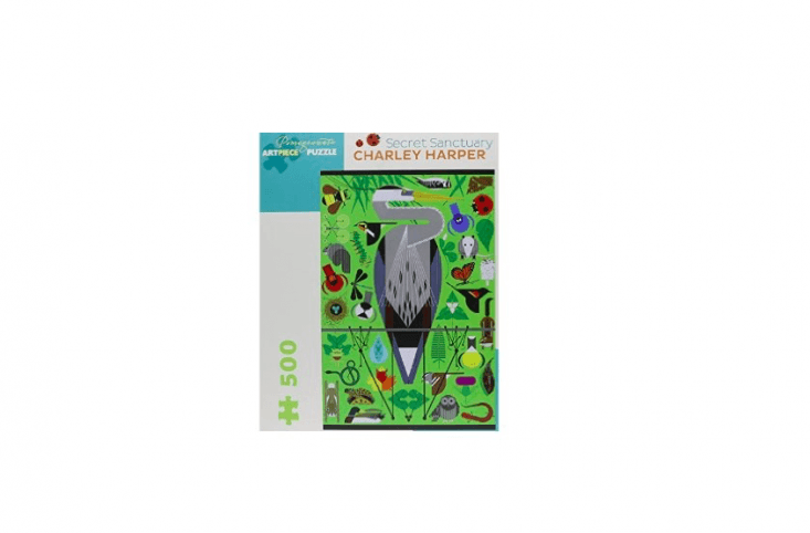 Featuring an image by modernist artist Charley Harper, a 500-piece Bird Sanctuary Jigsaw Puzzle is $.99 at The Bird Watcher&#8