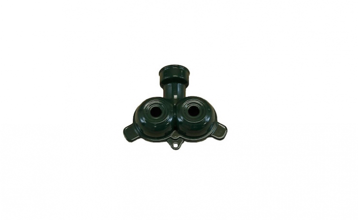 With twin spouts, a green metal Small Stationary Sprinkler will spray water over a 30-foot diameter of lawn; $loading=