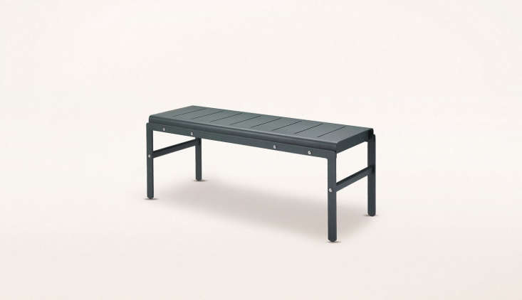 AReform Bench and Table in hunter green is about 43 inches long and \$\1,490 CAD (about \$\1,\155 USD) at Mjölk.