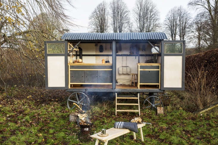 When great minds meet. &#8\2\20;In Wiltshire, England, George Winks, the designer and craftsman behindTemper Studio, and Chris Wheatley-Hubbard, owner ofFour Feathers Rural Courses, had the idea to convert an old shepherd's hut in Wheatley-Hubbard's barn into a mobile kitchen,&#8\2\2\1; writes Annie. Photograph byEmma Lewis.