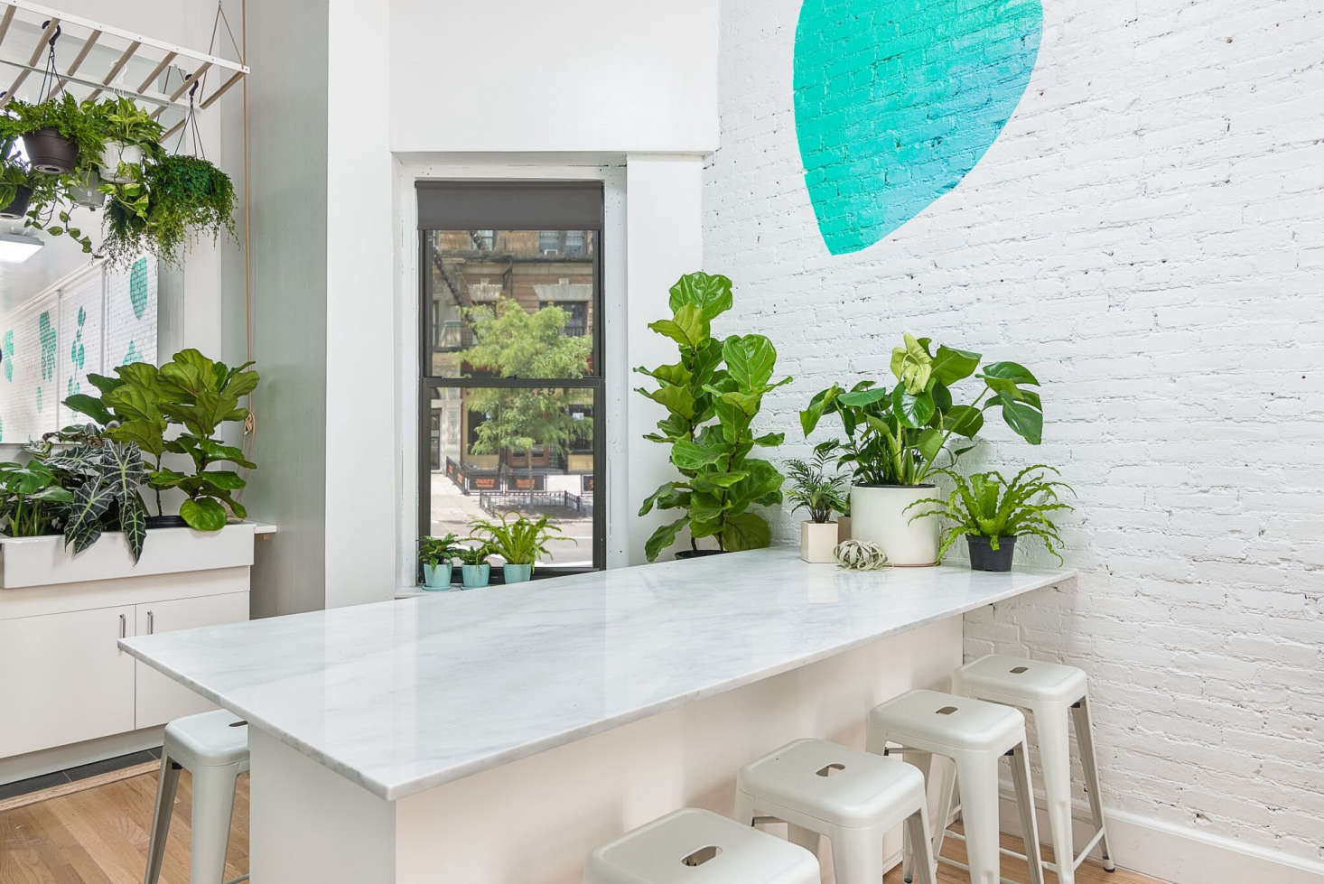 The shop has white brick walls that allow the greenery to stand out.  A marble-topped bar/checkout area serves as a table for the shop&#8