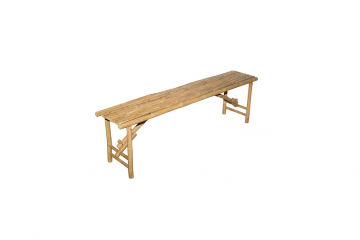 AHandmade Long Bamboo Folding Bench from Vietnam measures 63 inches long; \$89.99 from Overstock.
