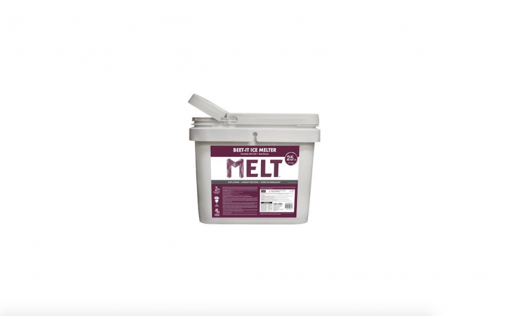 And where's the nearest beet juice emporium, you ask? You don't have to stir up your own concoction; Snow Joe makes a mix called Melt-\2-Go Beet It Ice Melter. A \25-pound bucket is \$\26.\24 at Home Depot.