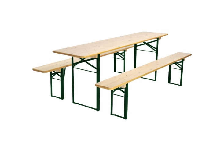 The &#8\2\20;Standard&#8\2\2\1; Biergarten Table, in natural with green frames, from Beer Garden Furniture starts at \$549.