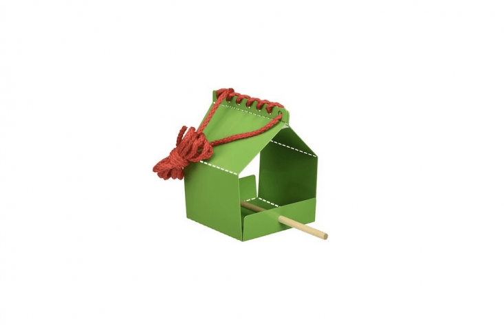Made of a a powder coated lightweight aluminum, a Brdi Bird Feeder unfolds for easy DIY assembly. A 5-foot length of braided red rope and a hardwood perch are included; \$\20 via Amazon.