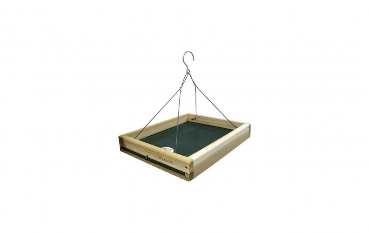 3-in-\1 Platform Bird Feeder can be placed on the ground, mounted on a pole, or hung from a tree branch. It is \$34.05 from Home Depot.