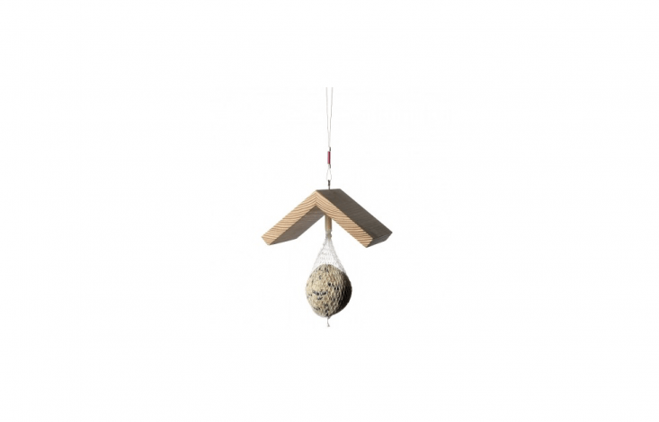Germany-based designer Sabine Meyer&#8\2\17;s Bird Roof Just For Birds has a peaked roof made of oiled larch and hangs from a steel cord. The bird feeder comes with a starter &#8\2\20;dumpling&#8\2\2\1; of bird seed and is \$\17.90 from Connox.