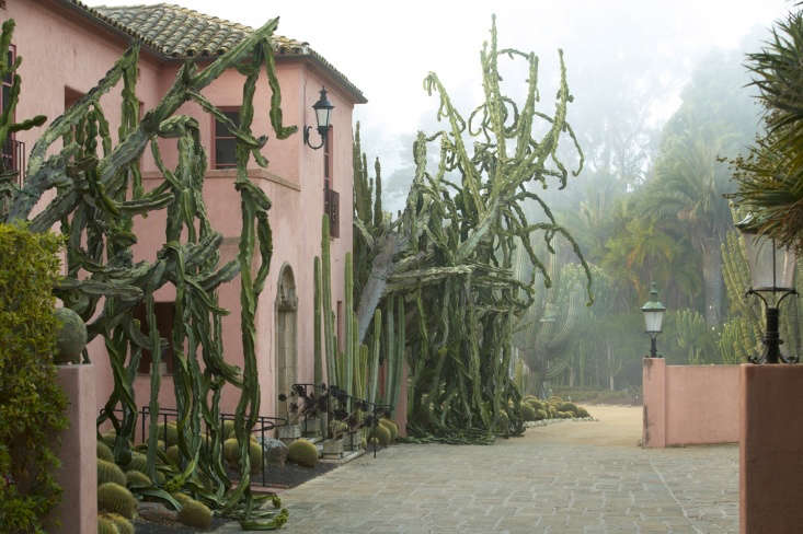 Giant weeping succulents give the \1890s house a grand entrance, as conceived by opera singer turned gardener Ganna Walska.
