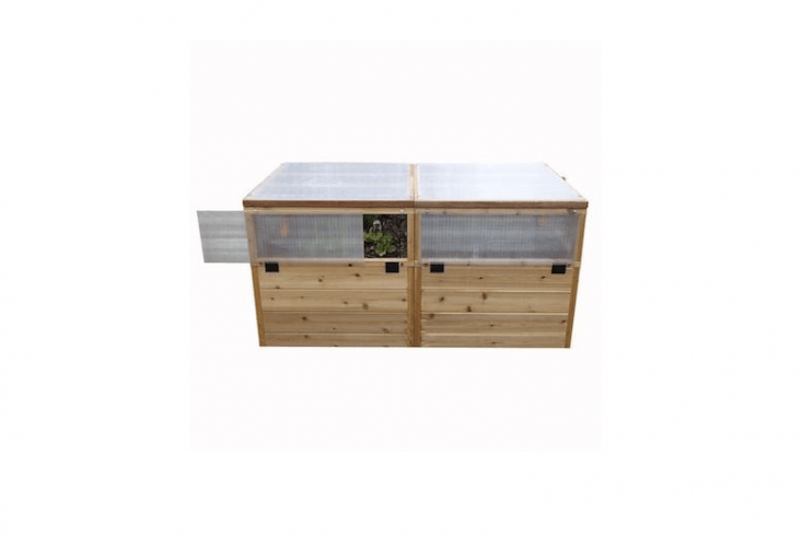 ARaised Garden Bed with Greenhouse Kit has wire mesh screen panels and is 3 feet high and 6 feet long. With a frame made of rot-resistant western red cedar, it is \$9\25 from Home Depot.
