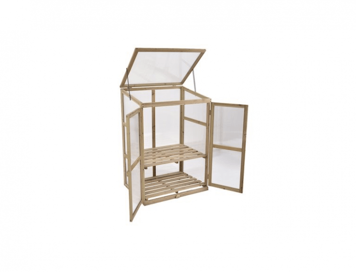 A portable GreenHouse Cold Frame has two shelves, translucent panels to let sunlight in on all sides, and a roof you can prop open for ventilation. It is \$\148.79 from Amazon.