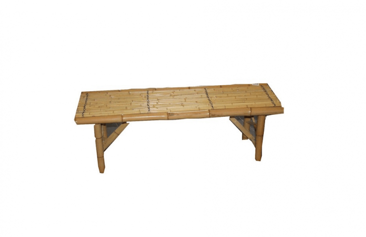A 48-inch-long varnished Shanghai Folding Bamboo Bench is \$49 at Amazon.