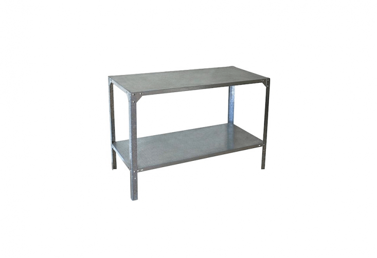 Manufactured in Israel, a galvanized steel Garden Potting Bench designed for outdoor use is 45 inches wide; \$\2\14.99 from Your Garden Stop.