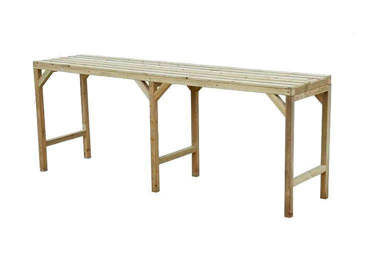 An 8-foot-long Greenhouse Staging Bench has a slatted worktop and is available seasonally from Tesco; £9. For similar options, see Amazon UK.