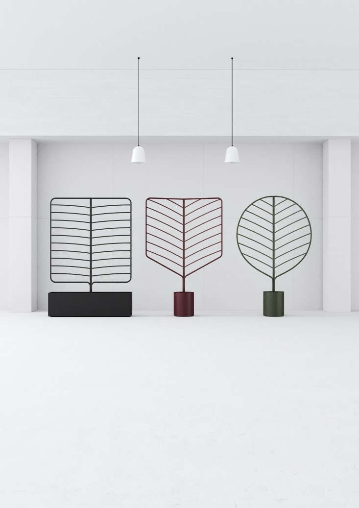 Kontouris&#8\2\17;s Botanical Planter Screens come in three bold leaf shapes that are approximately 5.6 feet tall and 3.6 feet wide. The pots are made of lightweight aluminum (and have an integrated water reservoir), and thescreens are marine-grade stainless steel finished with a fade-resistant powder coating.