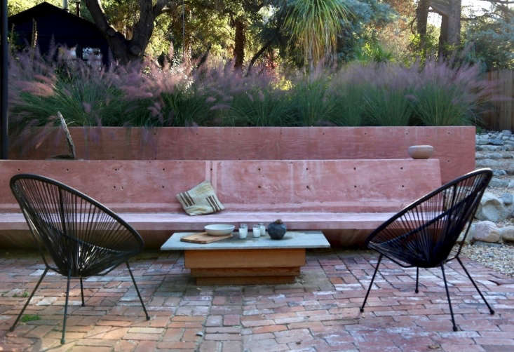 A brick patio featuring a double basketweave pattern. Photograph by Gillian Steiner for Gardenista, fromPretty in Pink: An Artist&#8