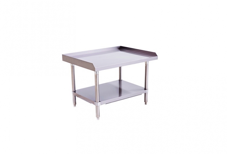 A 36-inch-wide stainless steel Equipment Stand made by Atosa is \$\190 from Lions Deal. The table comes in two other sizes; see Atosa for dimensions and pricing.