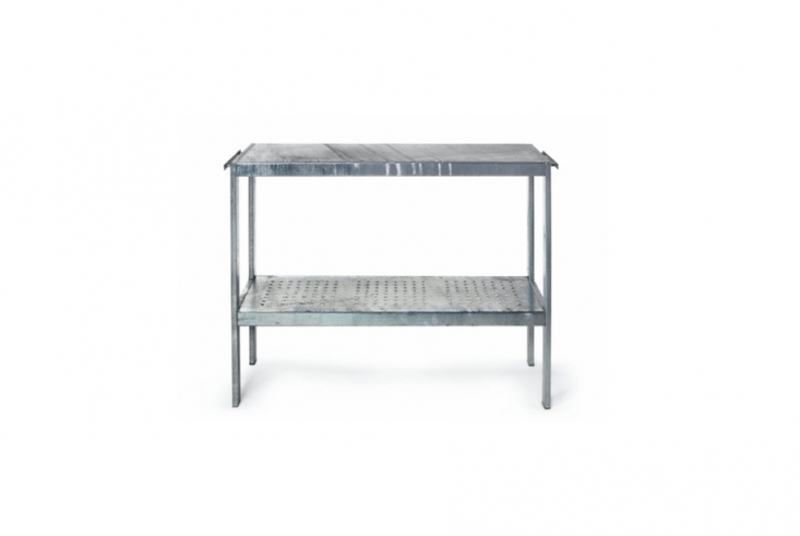 A galvanized steel Plant and Grill Table is suitable for use outdoors and will withstand the elements year-round. With a perforated storage shelf and a worktop made from a hot-dipped sheet of steel, it is €\250 from Manufactum.