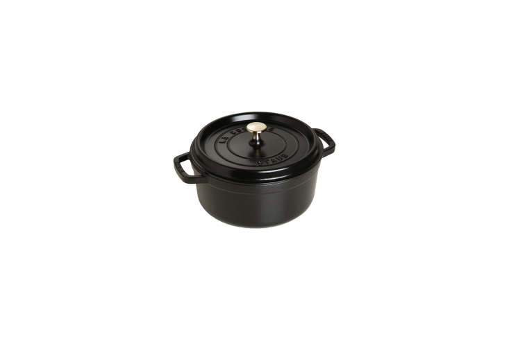 The Staub Dutch Oven won a spot on our Remodelista \100 list in our book, Remodelista: A Manual for the Considered Home. A similar choice, available on Amazon Prime, is the four-quart cocotte; \$\284.95.