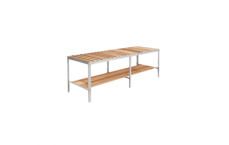A Natural Aluminium and Red Cedar greenhouse staging table is available in four lengths; £loading=