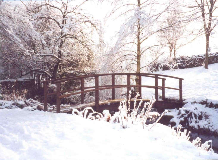 Curved Country Style Bridges are available in lengths of five feet to \17.75 feet (shown is a \15-foot bridge). Prices range from £369 to £\2,588, depending on length, finish, and style of railing.