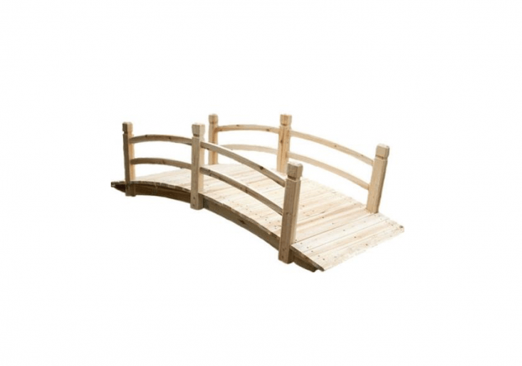 An eight-foot-long Freestanding Wooden Bridge made of unfinished fir comes with railings and has a weight capacity of 580 pounds; \$46\1.99 from Your Garden Stop.