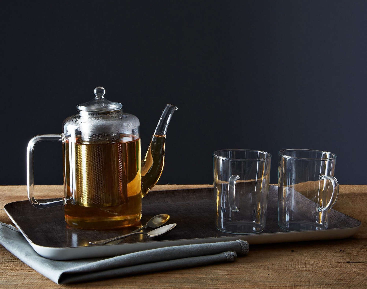 A -ounceGlass Teapot with Iron Filter is made in Germany of heat-resistant glass by 30-year-old French company Palais des Thés. It&#8