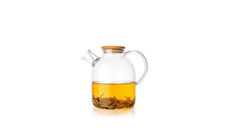 This 60-ounce Glass Teapot & Kettle is safe for heating on either a gas or induction stovetop, so doubles as both a water kettle and teapot. It has a bamboo lid and a stainless steel coil filter at the spout; $.50 from Tealyra.