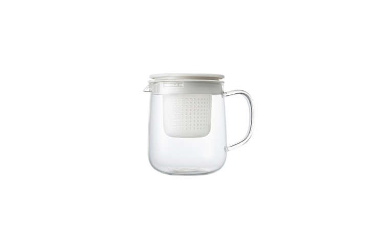Only available in Europe, the Heatproof Glass Tea Pot from Muji has a removable tea strainer and holds one liter of water; £.95.