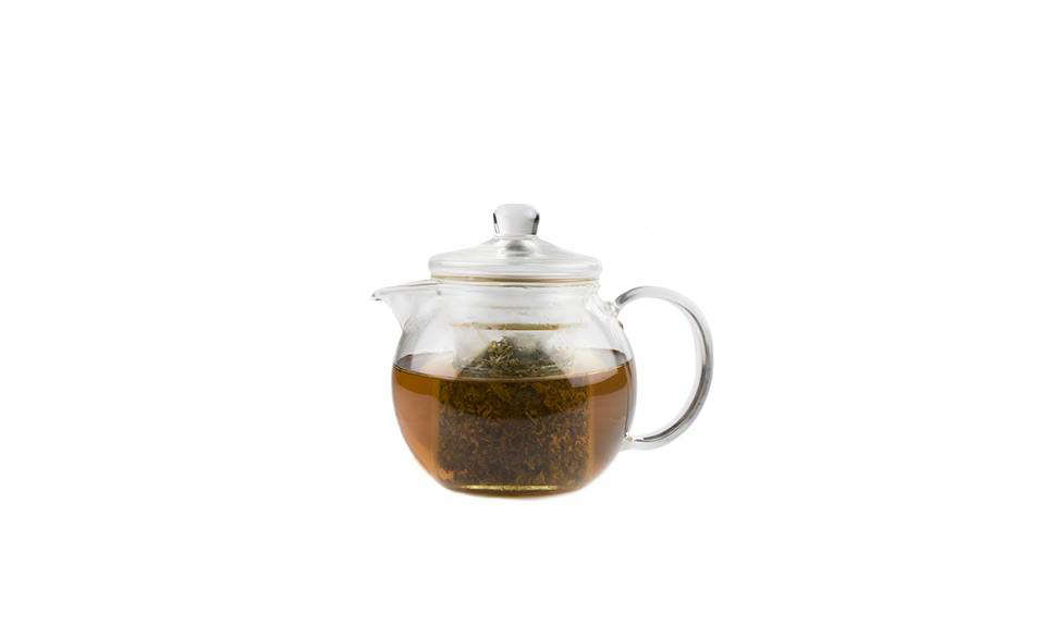 AContemporary Glass Teapot is made from  percent recycled glass that&#8