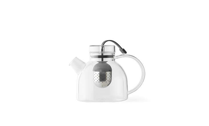 Designed by Danish Norm Architects for Menu, a Glass Kettle Teapot has a stainless steel &#8