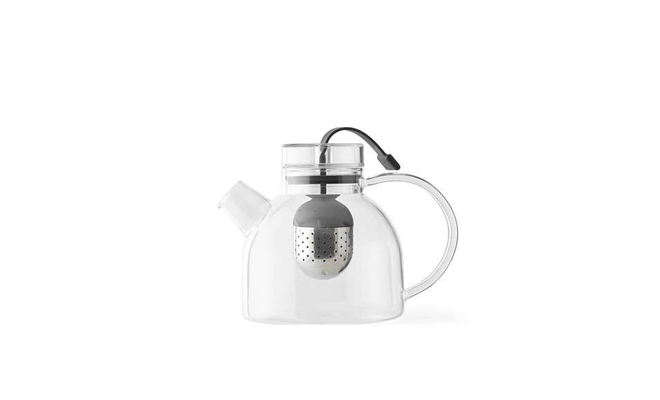 Designed by Danish Norm Architects for Menu, a GlassKettle Teapot has a stainless steel &#8