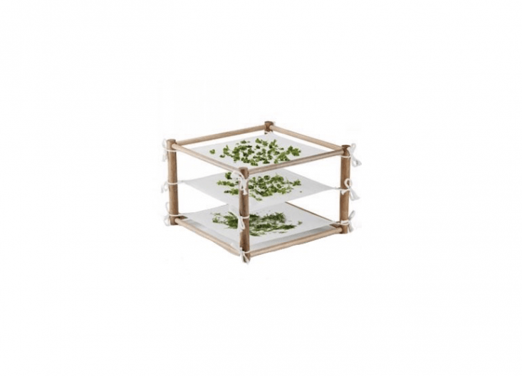 A three-levelHerb & Chilli Dryer has a rubber wood frame and washable, unbleached cotton drying sheets; £.50 from Greenhouse Sensation.