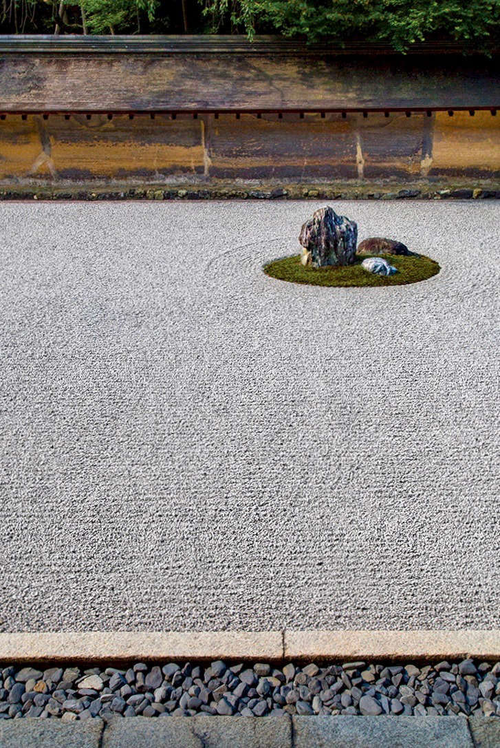Less is more: In the traditionalkaresansui, or stone garden, at Ryoan-ji Temple in Kyoto, the only growing thing is a ring of moss around each stone.