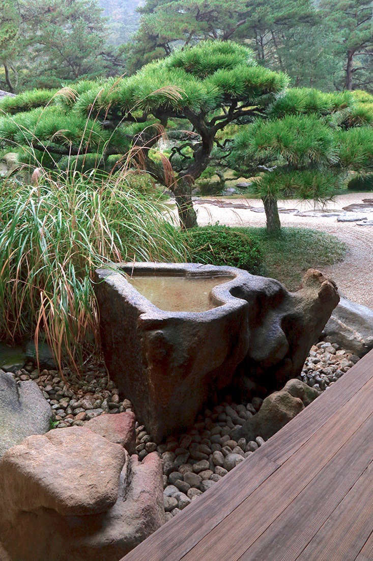 The sides of this sculptural stone basin were carved by nature; the top was cut flat and the inside hollowed out to hold water. Surrounding it are plantings typical of the Japanese style, including pines and grasses.