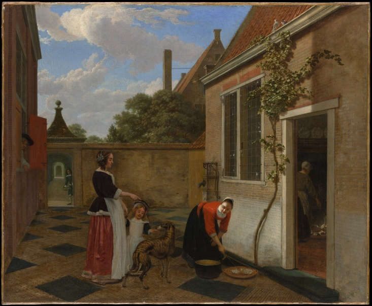 Ludolf de Jongh (Dutch, Overschie -79 Hillegersberg), Scene in a Courtyard, early 60s, oil on canvas, Bequest of William K. Vanderbilt, . Photograph courtesy of the Met Museum Open Access Database.