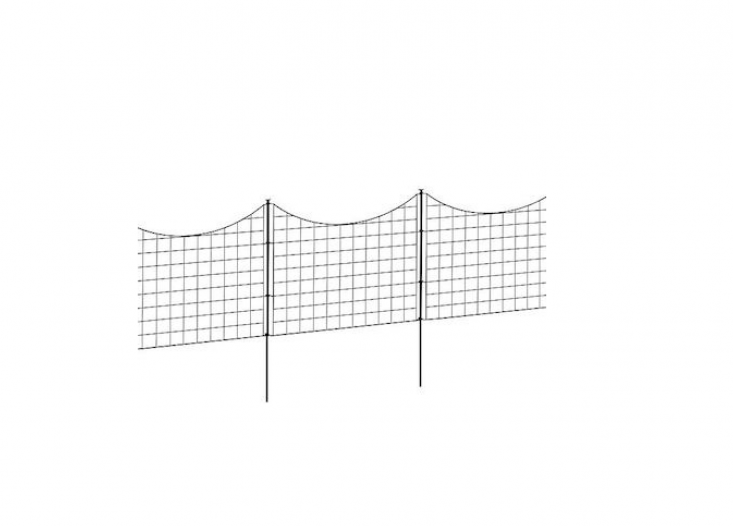 A five-piece metal Staked Garden Fence is constructed of black powder-coated metal; $99.99 from Improvements.