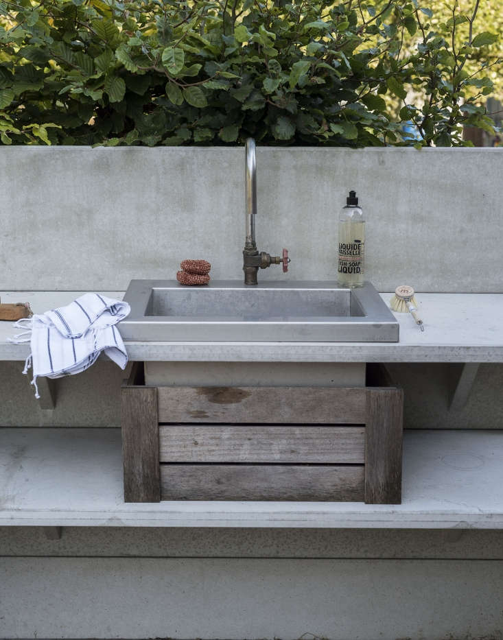 The stainless-steel WWOO sink, photographed by Matthew Williams for Gardenista: The Definitive Guide to Stylish Outdoor Spaces, is rigged with the Chicago Faucets Rigid Swing Gooseneck Sprout (GN