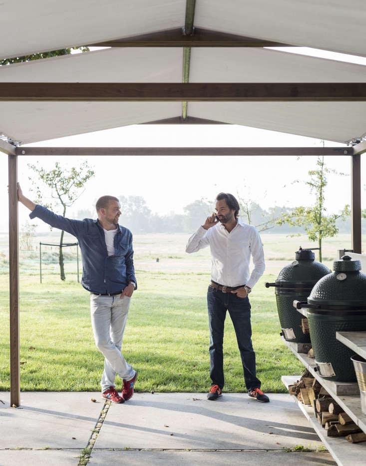 In the Netherlands, Piet-Jan van den Kommer (L) and partner Martijn Vree constructed models to show the range of WWOO outdoor kitchens.
